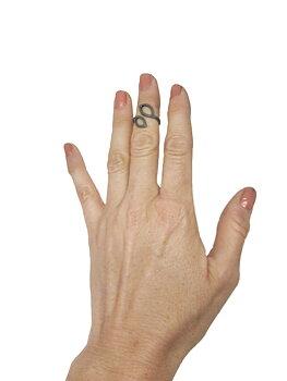 LEAFY ring - matterat oxiderat silver