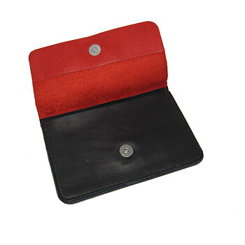 Leather wallet - Red/Black
