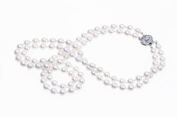 Akoya pearl double strand necklace with white gold clasp 6.5-7mm