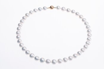 Top-quality Large Freshwater cultured pearl necklace with gold clasp 10-11mm