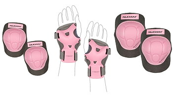 Nijdam skate- och inlinesskydd Deluxe Junior rosa/grå