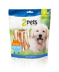 2pets Dogsnack Chicken/Fish Twist, 400 g