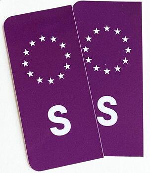S-Märke till registreringsskylten lila/vit