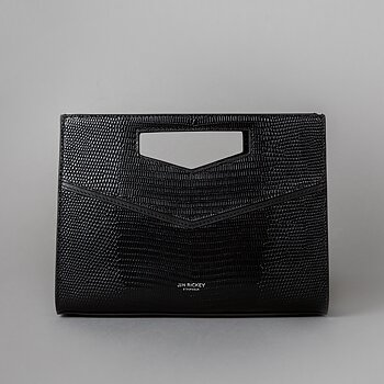 ENVELOPE CLUTCH - LIZARD EMBOSSED LEATHER - BLACK