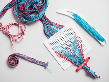 Band weaving kit Sunna 5 turquoise-red