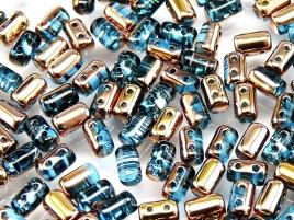 Rulla beads, tjeckisk cylinderformad två hålig pärla,  Aqua Capri Gold. 10 gram