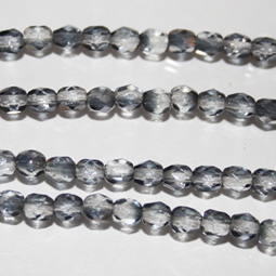 Fasetterade grå clear AB fasetter, 4 mm. Ca 12 cm sträng.