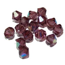 Preciosa bikoner i färgen Ametist AB, 4 mm. 10-pack.