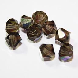 Preciosa bikoner i färgen Black Diamond AB, 6 mm. 4-pack.