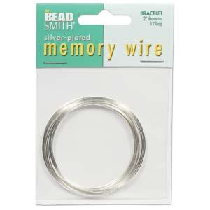 Silverpläterad memory wire för armband, 5 cm diameter, 12 varv.