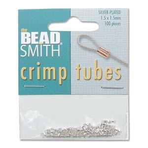 Tubformade klämpärlor, silverpläterade, 1,5 mm. 100-pack.