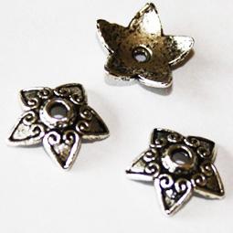 Antik silverfärgad pärlhatt, 13 mm. 5-pack.