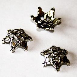 Antik silverfärgad pärlhatt, 17 mm. 5-pack.