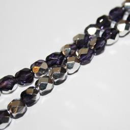 Fasetterade glaspärlor i lila och silvercoating, 6 mm.
