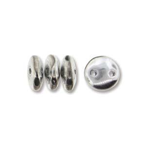 Lentil, i metallic silver tvåhålig platt rund pärla, 50 st.