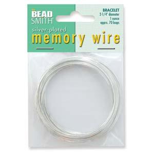 Silverpläterad memory wire för armband, ca 5,7 cm i  diameter, 70 varv.