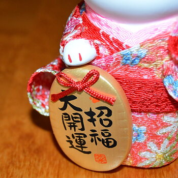 Lyckokatt med röd Kimono Kärlek