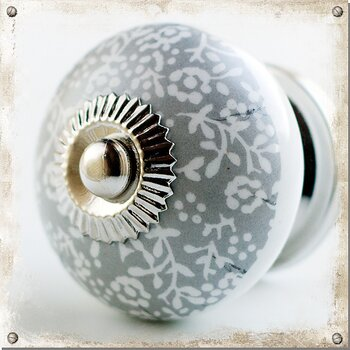 Cabinet knob in porcelain with grey/white pattern