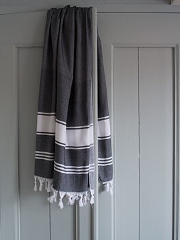 Hammam handduk honeycomb -svart/vit