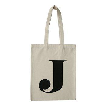 Naturvit tygpåse, bokstaven J