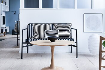 Kudde, randig 40 cm - svart/vit