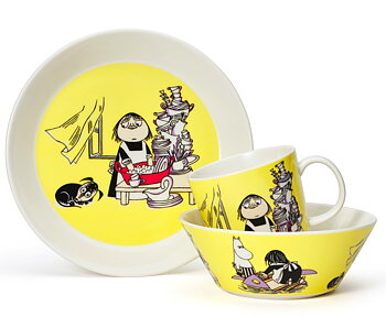 Package Price - Arabia - Moomin - Misabel yellow - Mug, plate + bowl