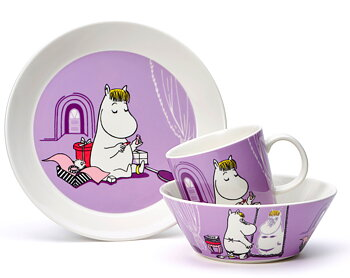 Package Price - Arabia - Moomin - Snorkmaiden purple - Mug, plate + bowl