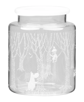 Moomin Glass Jar with silicone lid 2 L - In the woods