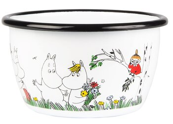 Enamel bowl 3 dl - Happy family