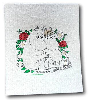 Moomin Dishcloth - Moomin & Snorkmaiden flower