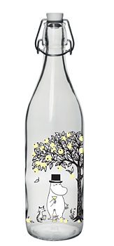 Moomin - Glass bottle with patent cork 1 L - Apples
