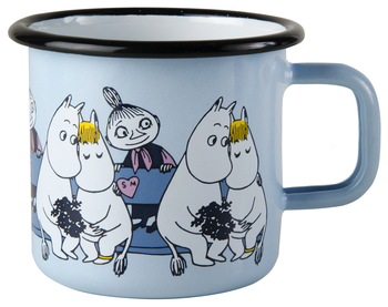 Moomin Enamel mug, 3,7 dl - Moominfriends Blue