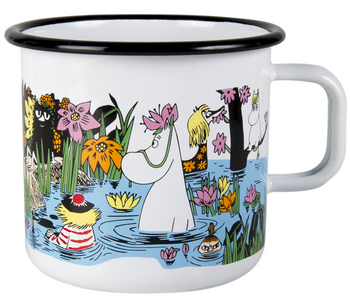 Moomin Enamel mug, 8 dl - Summer - Trip to the pond