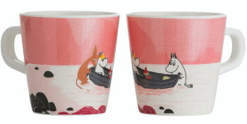 Moomin children's mug, Forest & Lake (Pink)
