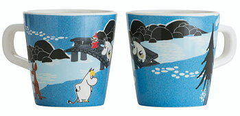 Moomin children's mug, Forest & Lake (Blue)
