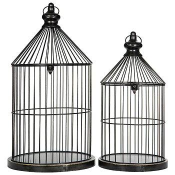 Svarta Fågelburar - set om 2 st