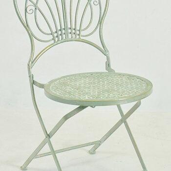 Grönt Cafeset 1 bord och 2 stolar Fransk stil