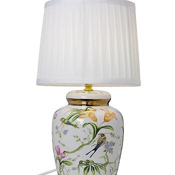 Bordslampa med fåglar och blommor i Porslin