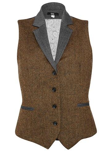 Simon Jersey Damväst Brun Tweed