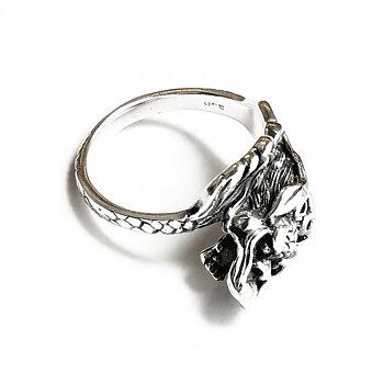 Kinesisk Drake Ring i Silver