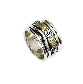 Handgjord Spin Ring i Silver/Brons - Spiral