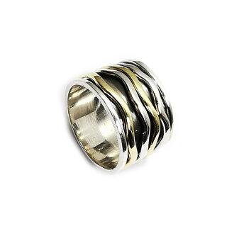 Handgjord Spin Ring i Silver/Brons - Vågig