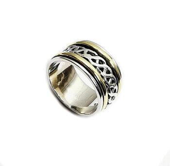 Handgjord Spin Ring i Silver/Brons - Keltisk