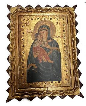 Handmålade Ikon - Jungfru Maria och Jesus med Metall lnlägg