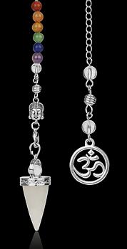 Chakra Aum/Buddha Stenpendel - Bergkristall