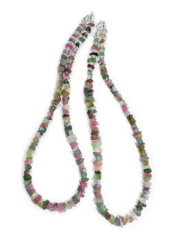 Rå Turmalin Halsband -  Multifärgat - Silver