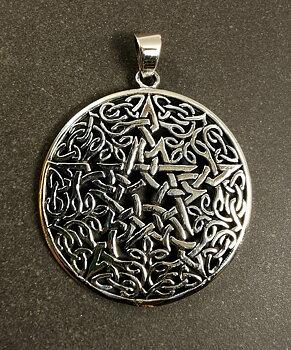 Pentagram Hänge i Silver  - Väv mönster