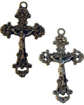 Litet krucifix kors till dekoration zink 2 sorter shabby chic lantlig stil