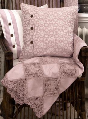 Pläd virkad Grandmother rosa shabby chic lantlig stil