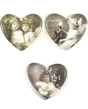 Hjärta i glas med änglar brevpress shabby chic lantlig stil